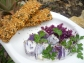 Flax Crackers with Purple Potato Salad
