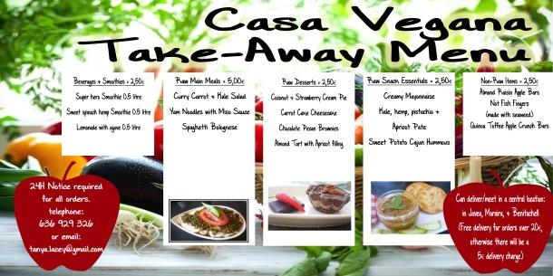take-away menu copy