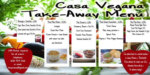 Very lovely eatables take away menu - for lovers of healthy eating.