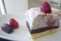 Raw coconut, strawberry, chocolate & almond slice