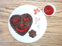 Hemp and Carob Buckwheat GF Pancakes with Raw Strawberry and Chia Jam