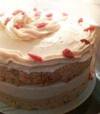 Raw Frosted Carrot Cake with Goji Berries