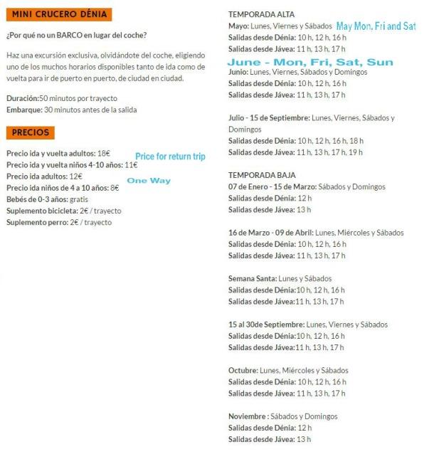 boat trip timetable mundomarino